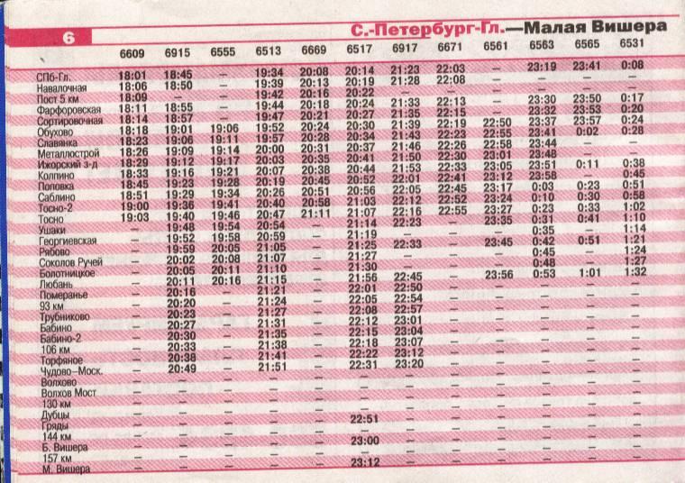 Расписание электропоездов малая вишера спб